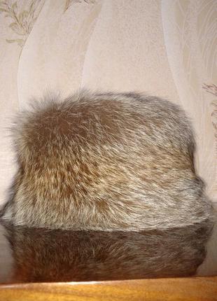 Шапка кубанка из натурального меха лисы с хвостом