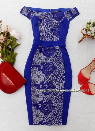 Шикарное платье-карандаш с кружевом little mistress, размер 12 (см. замеры)
