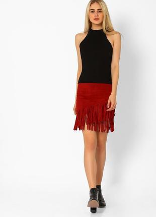 Стильная юбка с бахромой красная tally weijl