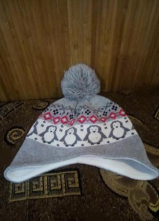 Теплая шапочка 44 см 3-6 месяцев