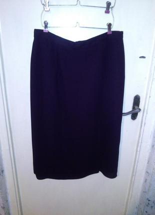 """Классическая юбка-карандаш, """"баклажанного"""" цвета,с запахом и разрезом,от 98см"""