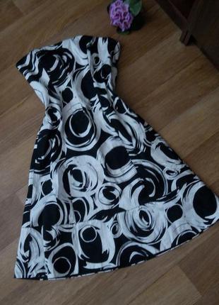 Платье coast короткое вечернее черное 46 48 размер принт топ скидка