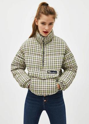 Тёплая укороченная куртка/пуффер/ анорак в клетку