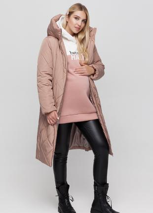 Зимнее пальто для беременных из плащевки с боковыми расширителями