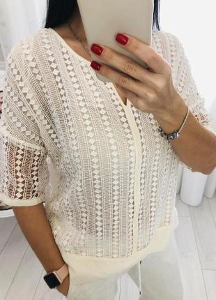 Massimo dutti блузка из кружева с отделкой из шелка