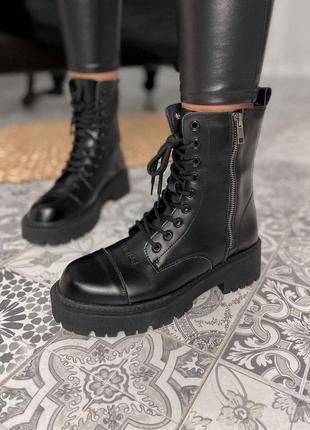Женские кожаные зимние ботинки/сапоги/ботильоны balenciaga tractor черного цвета 😍