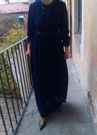 Синее макси платье в пол рост от 170см....