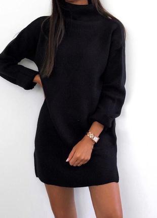 Теплое женское платье с высоким горлом черное