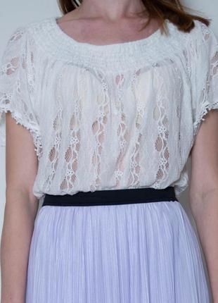 Блуза кружевная с коротким рукавом