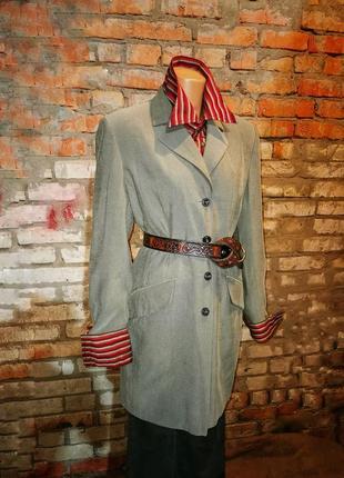 Пиджак оливковый длинный удлинённый basic + more жакет блейзер