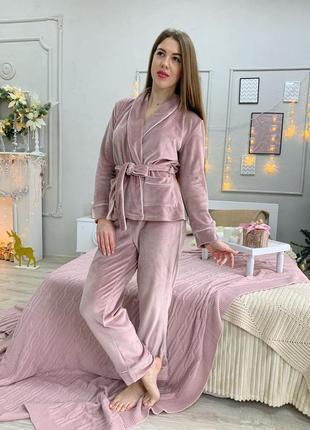 Велюровый плюшевый пудровый костюм для дома, укороченный халат со штанами, пижама, піжама