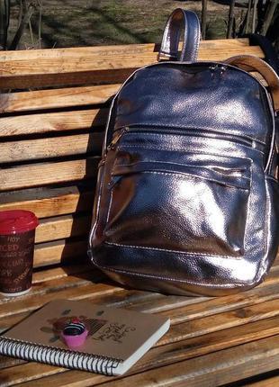 Рюкзак,минирюкзак,мини рюкзак,мини сумка,стильный, цвет розовый беж с серебряным отливом