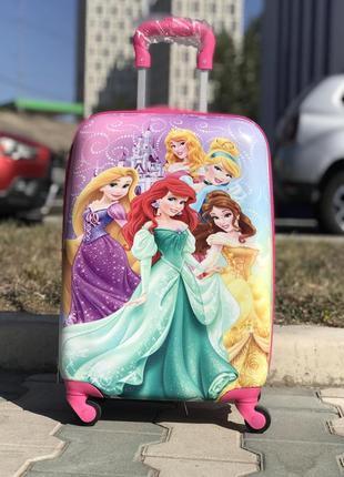 Уценка! детский пластиковый чемодан для девочки дисней / дитяча валіза пластикова