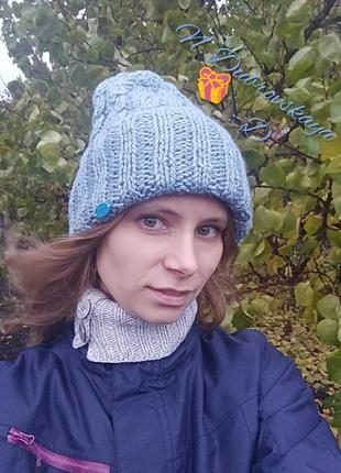 Вязанная, зимняя шапка приятного голубого цвета, handmade