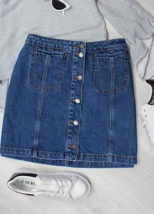 Распродажа в связи с закрытием!!нереальная синяя джинсовая мини юбка на пуговицах