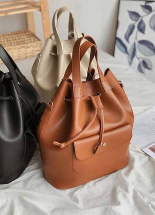 Рюкзак-мешок трансформер. терракотовая рыжая  вместительная сумка-рюкзак.