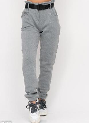 Теплые серые брюки на флисе с высокой посадкой