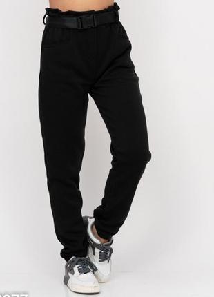 Теплые черные брюки на флисе с высокой посадкой