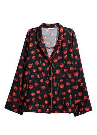 Свободная блуза- рубашка с воротником и лацканами с маками h&m