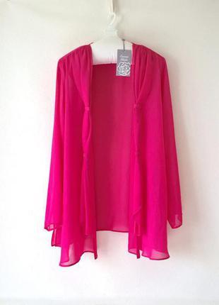 Шифоновая блуза накидка розовая большой размер 5xl