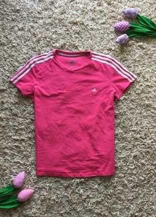 Женская розовая футболка майка с лампасами adidas оригинал