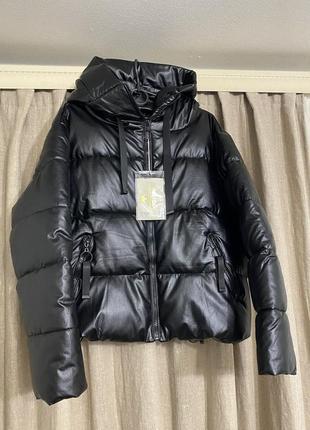 Зимняя куртка из эко кожи, курточка ,зимний пуховик из эко кожи