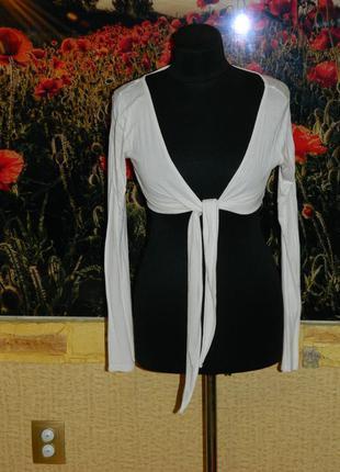 Болеро белое на завязках длинный рукав р. 42-44 (можно на девочку подростка)  h&m
