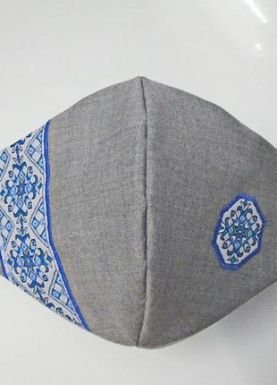 Маска дизайнерская вышиванка защита захист носовой зажим коттон декор мв-63