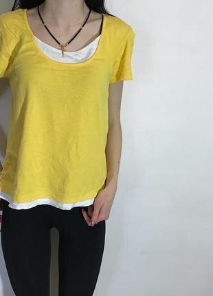 Женская футболка george (джордж м-лрр идеал оригинал желто-белая)