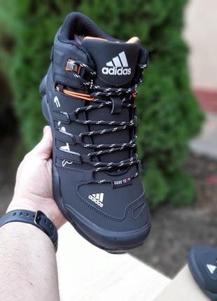 Adidas fastr высокие чёрные с оранжевым