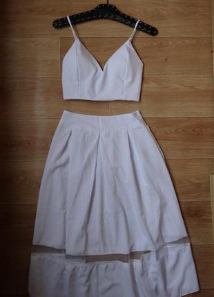Белая юбка и топ . шикарный летний костюм