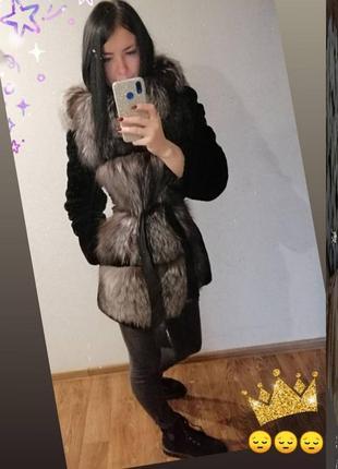 Шуба мутон, чернобурка