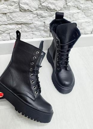 36-41 рр ботинки деми зима женские кожаные на шнуровке стильные удобные модные