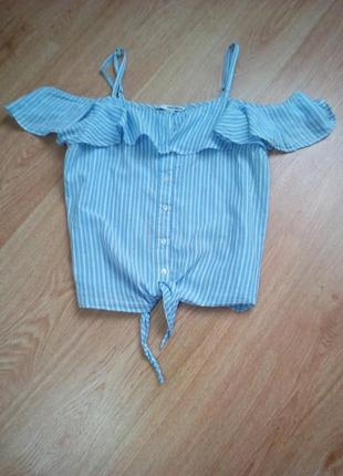 Хлопковая блуза топ на бретелях с воланом