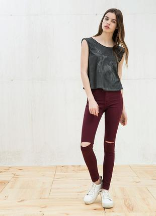 Джеггинсы джинсы высокой талией посадкой марсала бургунди beshka