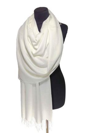 Палантин шарф кашемир молочный шерсть кашемировый pashmina original однотонный теплый