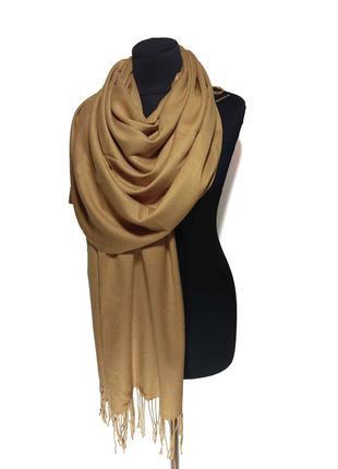 Палантин шарф кашемир бежевый кэмэл шерсть кашемировый pashmina original однотонный теплый