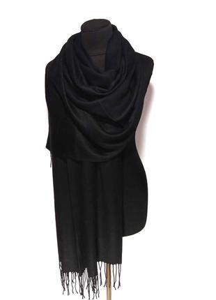 Палантин шарф кашемир черный шерсть кашемировый pashmina original однотонный новый