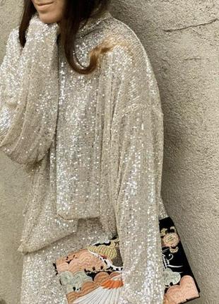 Красивейшая блуза в пайетках h&m хит блогеров