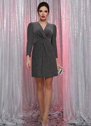 Короткое новогоднее праздничное платье серое на корпоратив вечеринку новый год