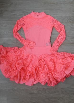 Костюм платье для танца гимнастики девочке, 8-9 лет 128-134 grand prix нарядное