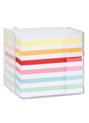 Бумага для рисунков, скетчей, заметок в настольном диспенсере - белая+цветная