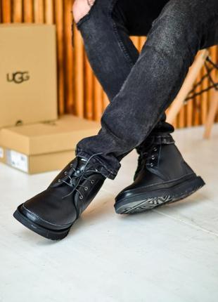 Угги мужские чёрные кожа на шнурках