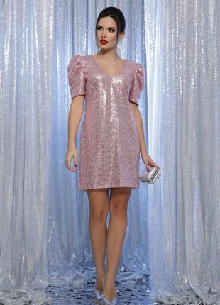 Нарядное платье розовое в пайетки новогоднее праздничное на корпоратив новый год