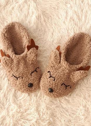 Тапочки домашние новогодние олени. идея для подарка