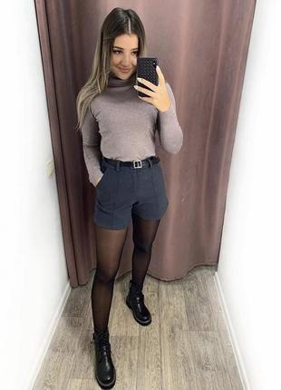 Стильные женские темно синие кашемировые шорты  с поясом размер s