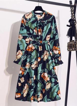 Темно синее шифоновое платье трендовий принт синє плаття принт