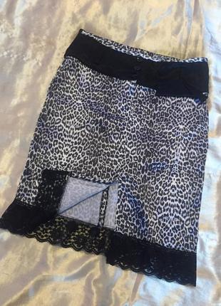 Фирменная юбка фірмова спідниця висока талія мереживо та принт