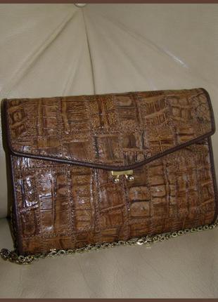 Vip. кожаная сумочка-клатч из кожи крокодила.  идеальный винтаж.