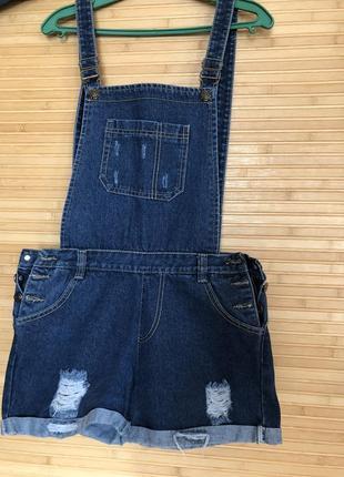 Комбинезон джинсовый, джинс комбез, шорты, летняя одежда